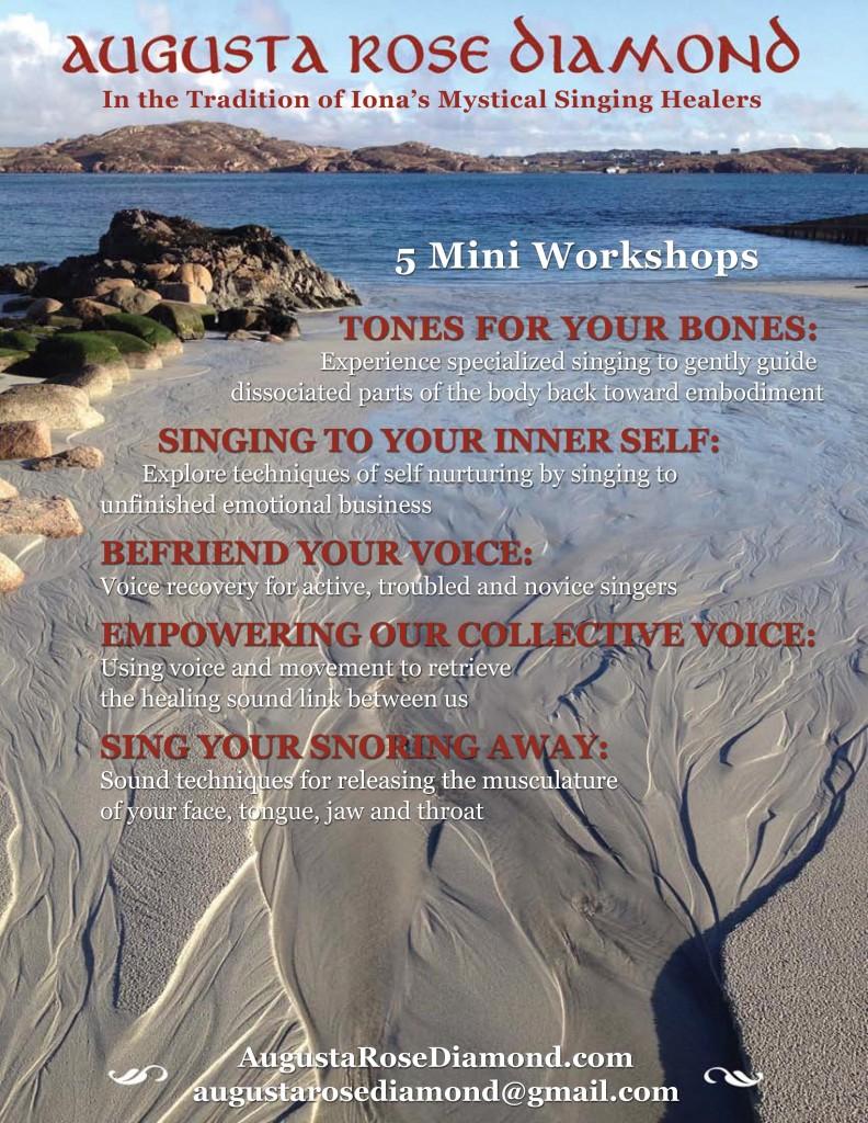 Tones for the Bones 5 mini workshops 2018 flyer